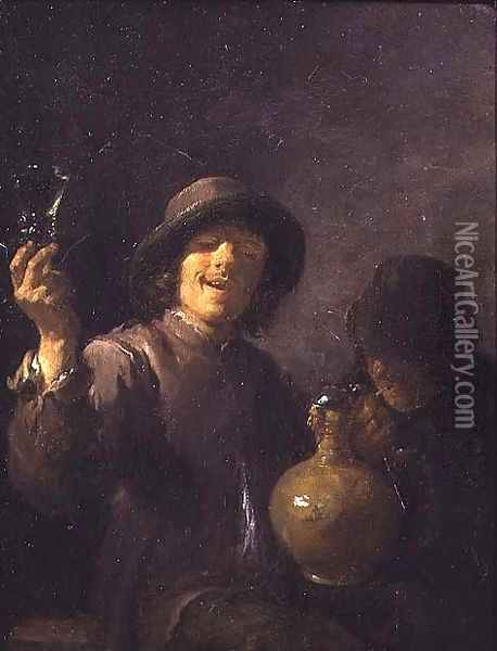 Two Boors drinking Oil Painting - David The Younger Teniers