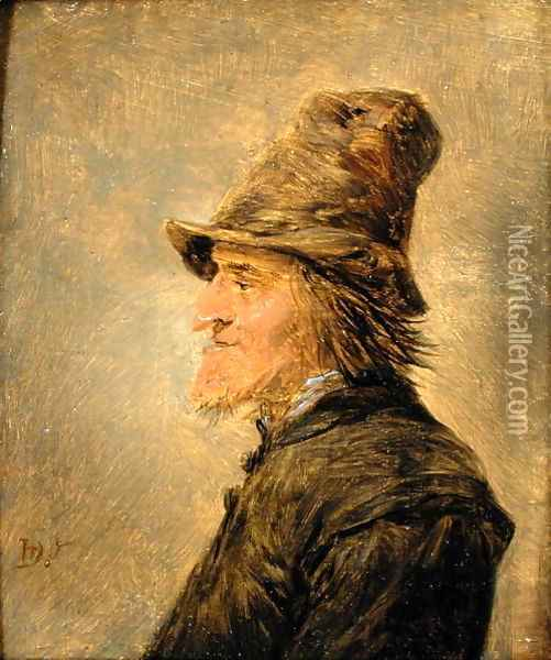 Portrait of man with a beard, in profile, wearing a straw hat Oil Painting - David The Younger Teniers