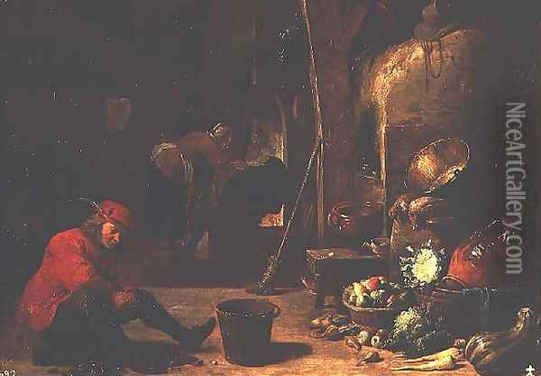 The Kitchen 2 Oil Painting - David The Younger Teniers
