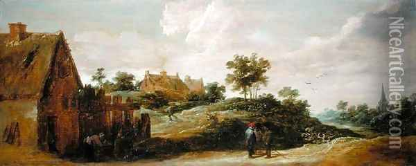 Peasants Talking on a Path Oil Painting - David The Younger Teniers