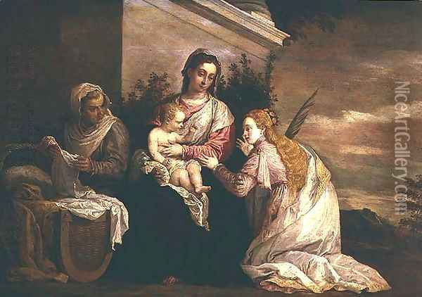 Virgin and Child with St. Catherine Oil Painting - David The Younger Teniers