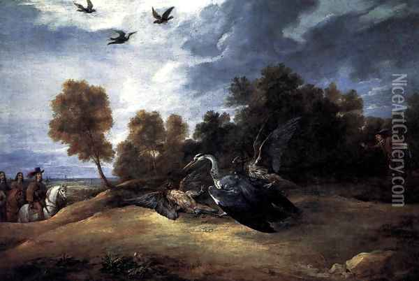 Heron Hunting with the Archduke Leopold Wilhelm Oil Painting - David The Younger Teniers