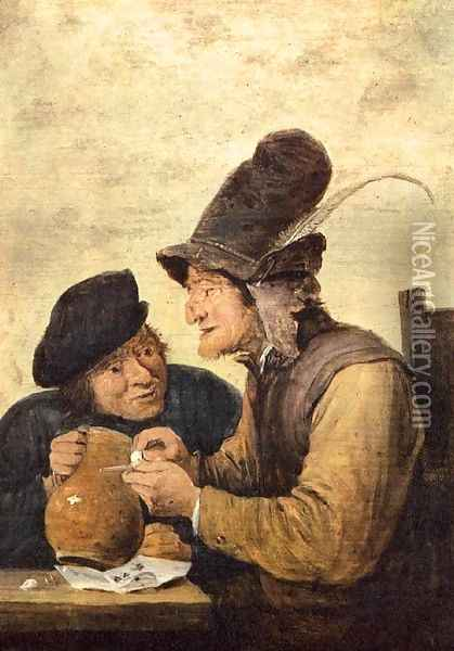 Two Drunkards Oil Painting - David The Younger Teniers