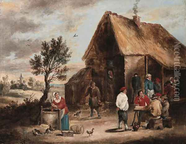 Peasants smoking and a Woman drawing Water from a Well outside a Tavern Oil Painting - David The Younger Teniers