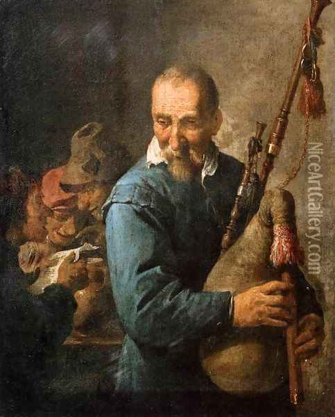 The Musette-Player Oil Painting - David The Younger Teniers