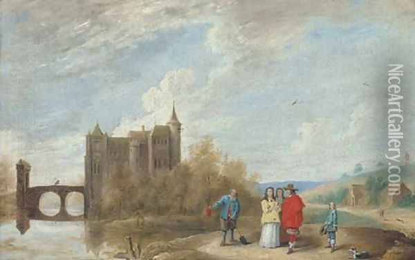 A river landscape with elegant company conversing with a peasant, a castle beyond Oil Painting - David The Younger Teniers