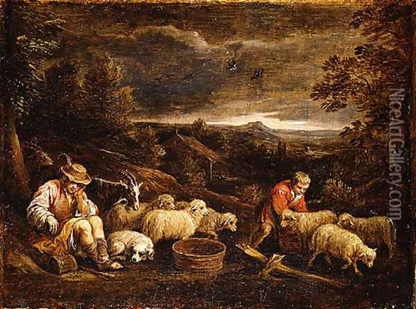 Shepherds and Sheep Oil Painting - David The Younger Teniers