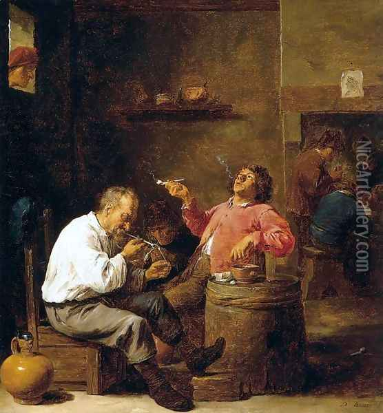 Smokers in an Interior Oil Painting - David The Younger Teniers