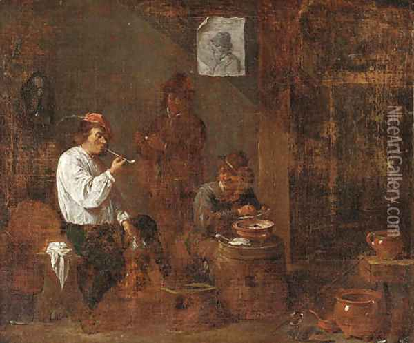 Boors smoking and drinking in a tavern interior Oil Painting - David The Younger Teniers
