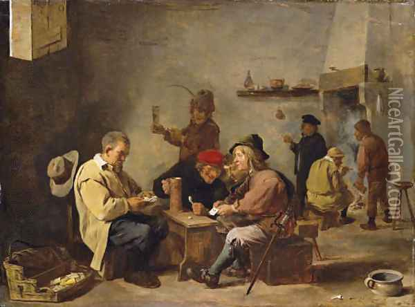 Card players in an inn Oil Painting - David The Younger Teniers