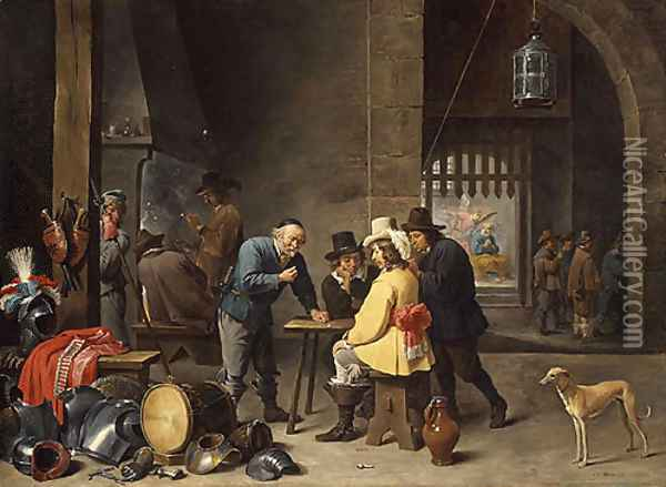 Guardroom with the Deliverance of Saint Peter ca 1645 Oil Painting - David The Younger Teniers