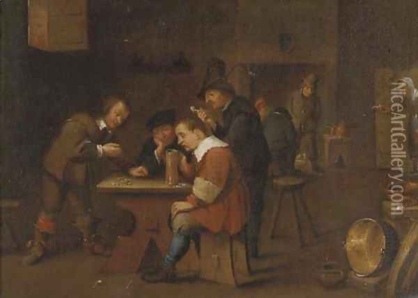 Peasants playing dice, smoking and drinking in an inn Oil Painting - David The Younger Teniers