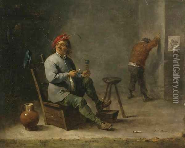 Smoker Oil Painting - David The Younger Teniers