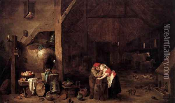 The Old Man and the Maid Oil Painting - David The Younger Teniers