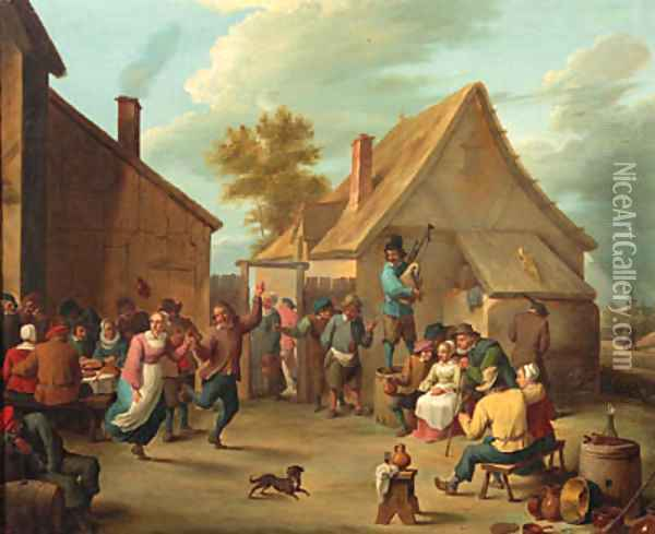 Peasants merrymaking in the courtyard of an inn Oil Painting - David The Younger Teniers