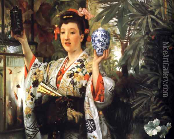 Young Lady Holding Japanese Objects Oil Painting - James Jacques Joseph Tissot