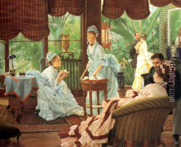 In the Conservatory (Rivals) (2) 1875-78 Oil Painting - James Jacques Joseph Tissot