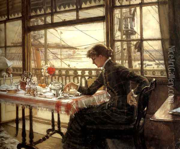 Room Overlooking The Harbour Oil Painting - James Jacques Joseph Tissot