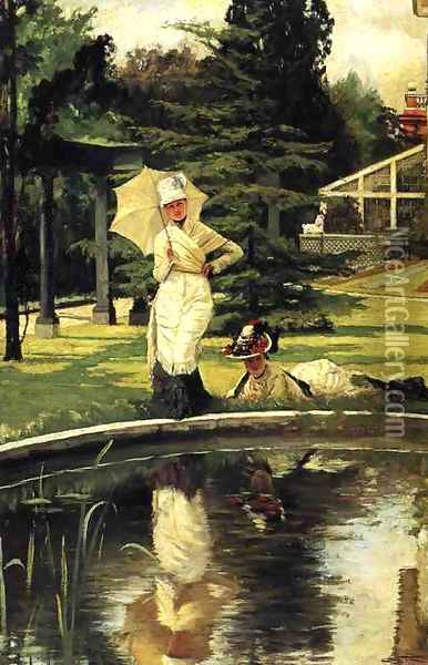 In an English Garden Oil Painting - James Jacques Joseph Tissot