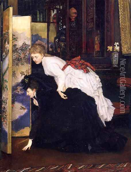 Young Women Looking At Japanese Objects 2 Oil Painting - James Jacques Joseph Tissot