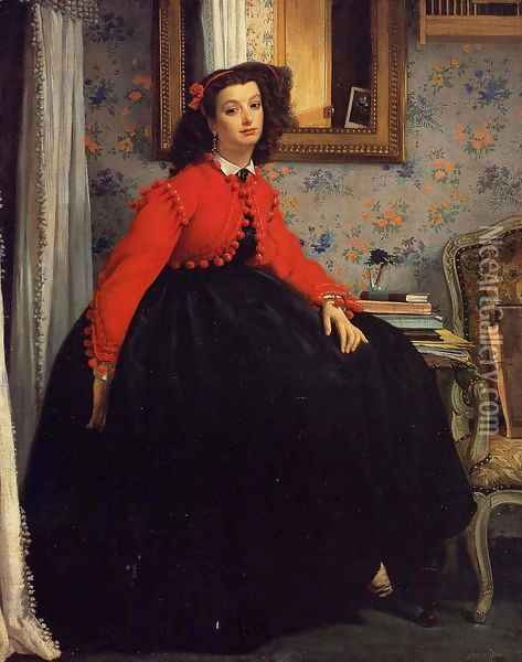 Portrait of Mademoiselle L.L. (Young Woman in a Red Jacket) 1864 Oil Painting - James Jacques Joseph Tissot