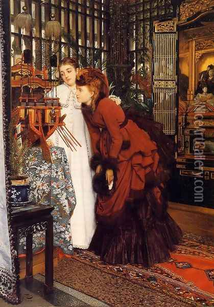 Young Women Looking At Japanese Objects Oil Painting - James Jacques Joseph Tissot