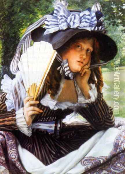 Young Lady with a Fan Oil Painting - James Jacques Joseph Tissot