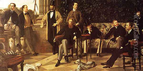 The Circle of the Rue Royale (detail) Oil Painting - James Jacques Joseph Tissot