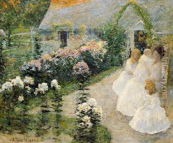 On The Terrace Oil Painting - John Henry Twachtman