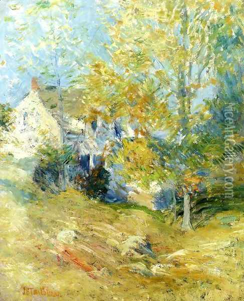 The Artists House Through The Trees Aka Autumn Afternoon Oil Painting - John Henry Twachtman