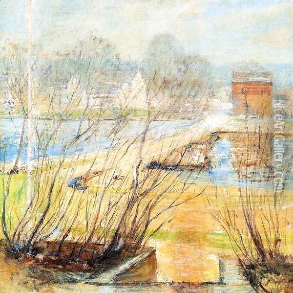View From The Holley House Cos Cob Connecticut2 Oil Painting - John Henry Twachtman