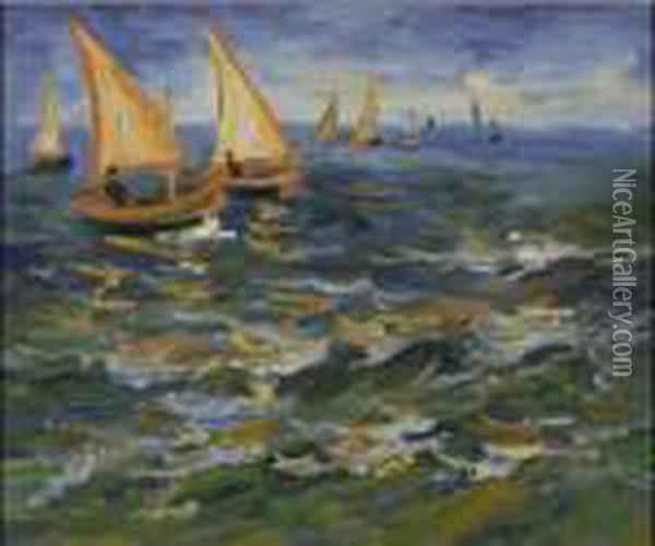 Seascape At Saintes Maries De La Mer Oil Painting - Vincent Van Gogh