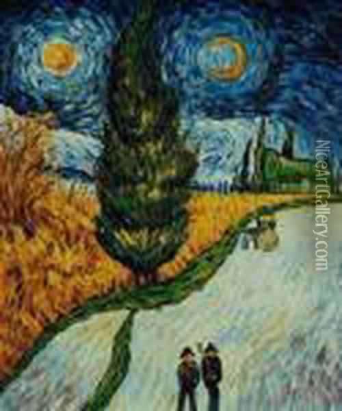 Road With Cypress And Star Oil Painting - Vincent Van Gogh
