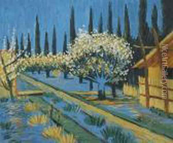 Orchard In Blossom, Bordered By Cypresses Oil Painting - Vincent Van Gogh