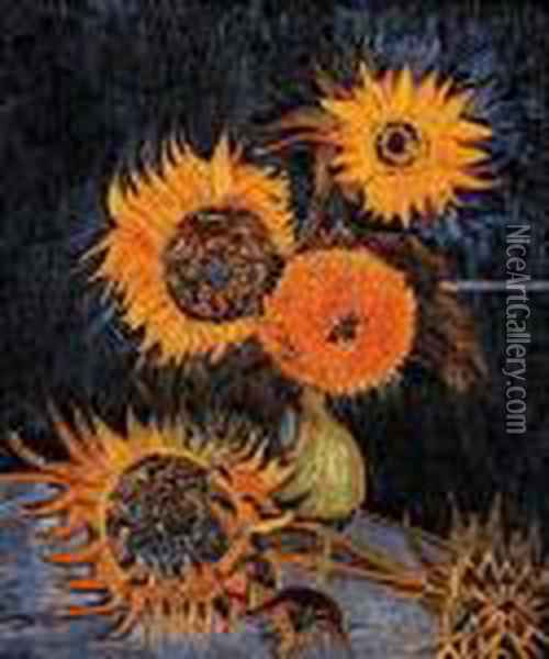 Five Sunflowers In A Vase Oil Painting - Vincent Van Gogh
