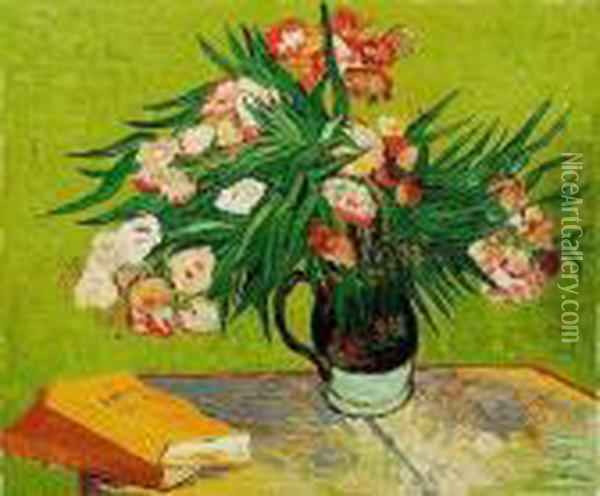 Majolica Jar With Branches Of Oleander Oil Painting - Vincent Van Gogh