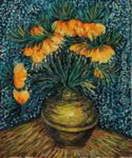 Crown Imperial Fritillaries In A Copper Vase Oil Painting - Vincent Van Gogh