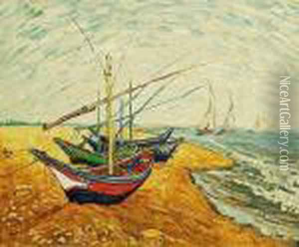 Fishing Boats On The Beach At Saintes-maries Oil Painting - Vincent Van Gogh