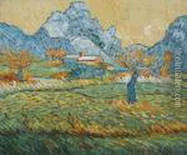 Field With Pollard Trees And Mountainous Background Oil Painting - Vincent Van Gogh