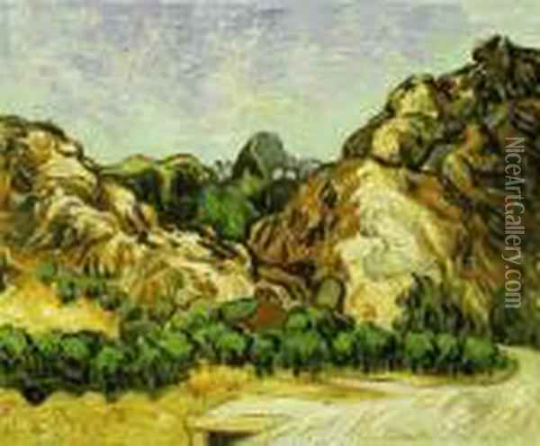 Mountains At St. Remy With Dark Cottage Oil Painting - Vincent Van Gogh