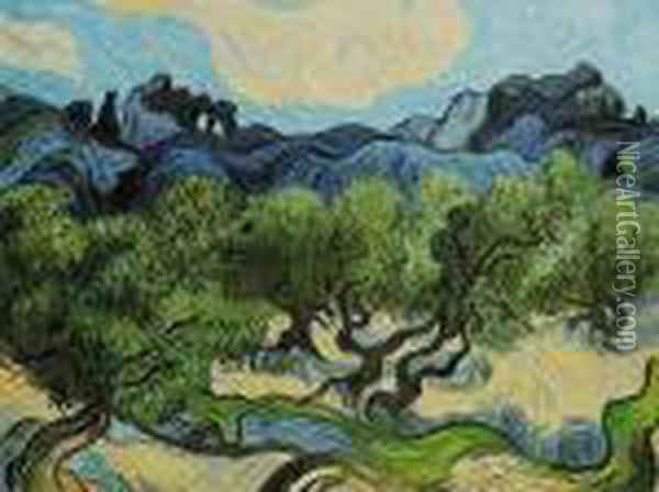 Olive Trees With The Alpilles In The Background Oil Painting - Vincent Van Gogh