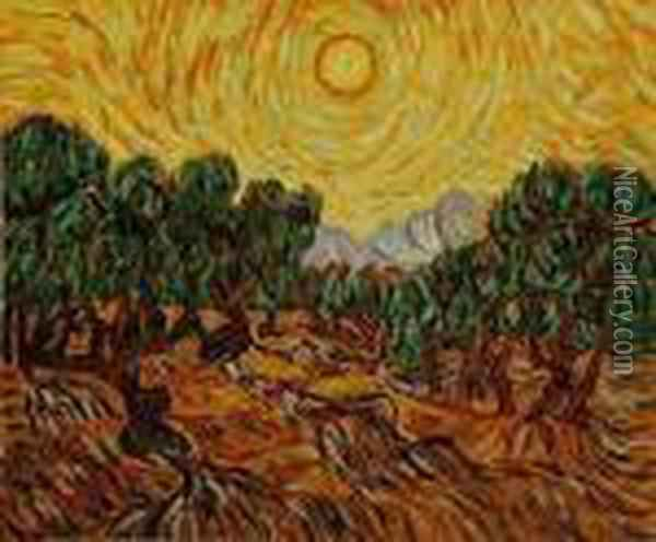 Olive Trees With Yellow Sun And Sky Oil Painting - Vincent Van Gogh