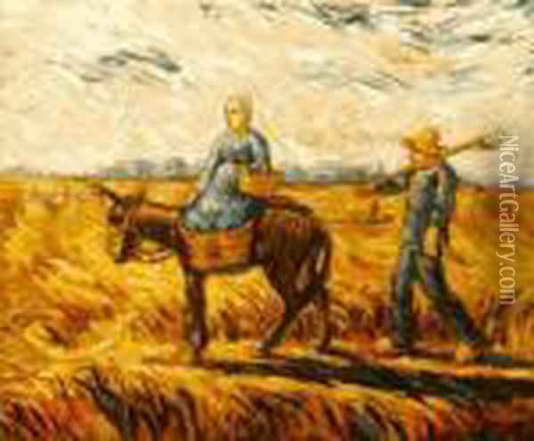 Peasant Couple Going To Work Oil Painting - Vincent Van Gogh