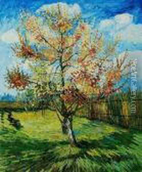 Pink Peach Tree In Blossom Oil Painting - Vincent Van Gogh