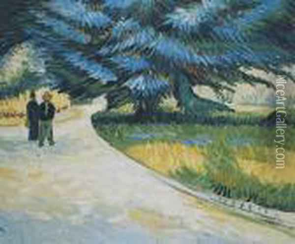 Poet's Garden With A Couple And A Blue Fir Oil Painting - Vincent Van Gogh