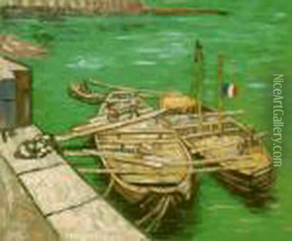 Quay With Men Unloading Sand Barges Oil Painting - Vincent Van Gogh