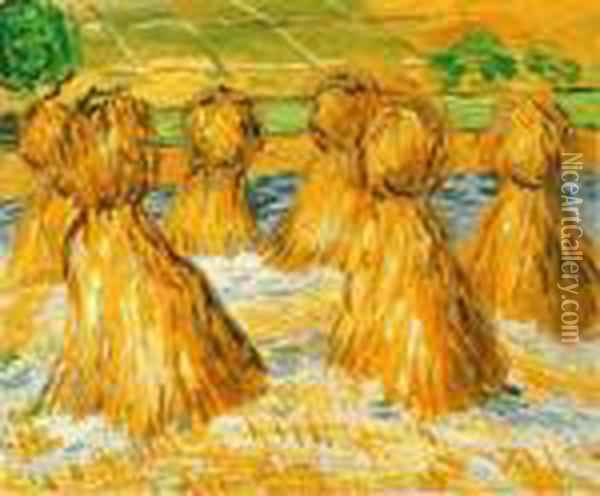 Sheaves Of Wheat Oil Painting - Vincent Van Gogh