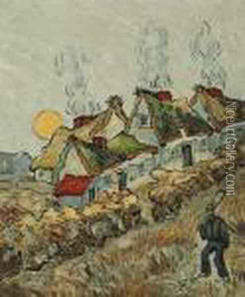 Thatched Cottages In The Sunshine: Reminiscences Of The North Oil Painting - Vincent Van Gogh