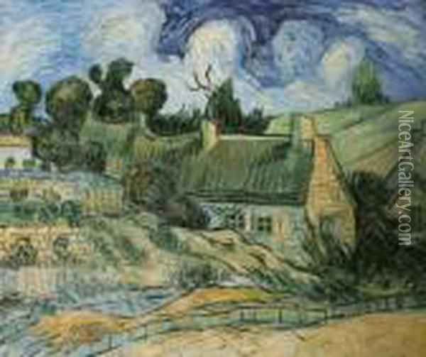 Thatched Houses In Cordeville Oil Painting - Vincent Van Gogh
