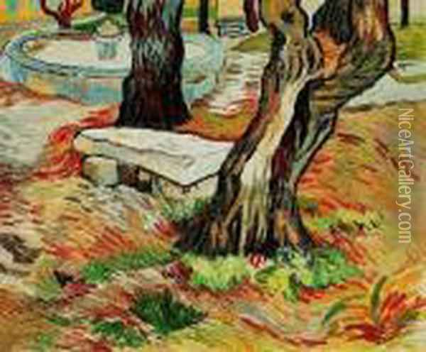The Bench At Saint Remy Oil Painting - Vincent Van Gogh